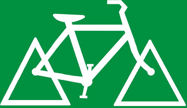 Desenho de bicileta com rodas triangulares.
